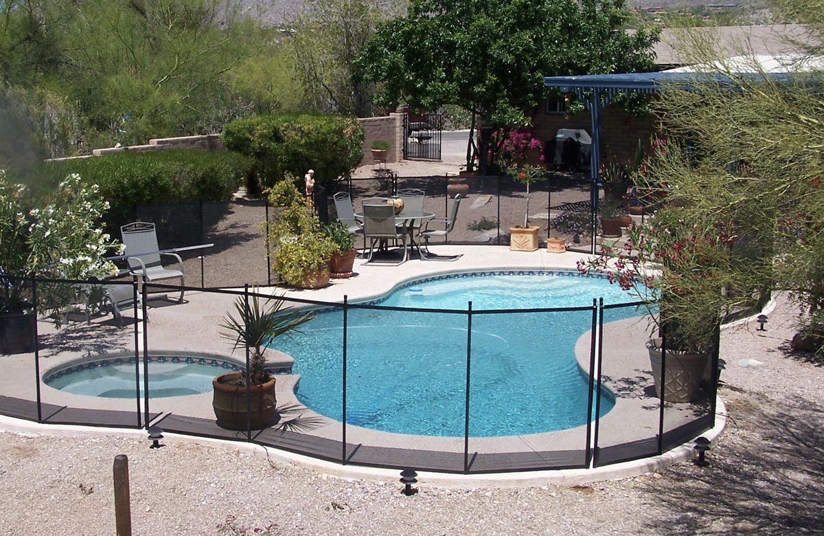 Entire Patio With Pool And Spa Enclosed With Pool Fence